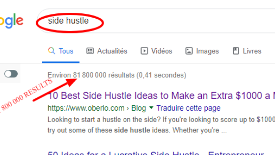 how to find a niche, side hustle   google result
