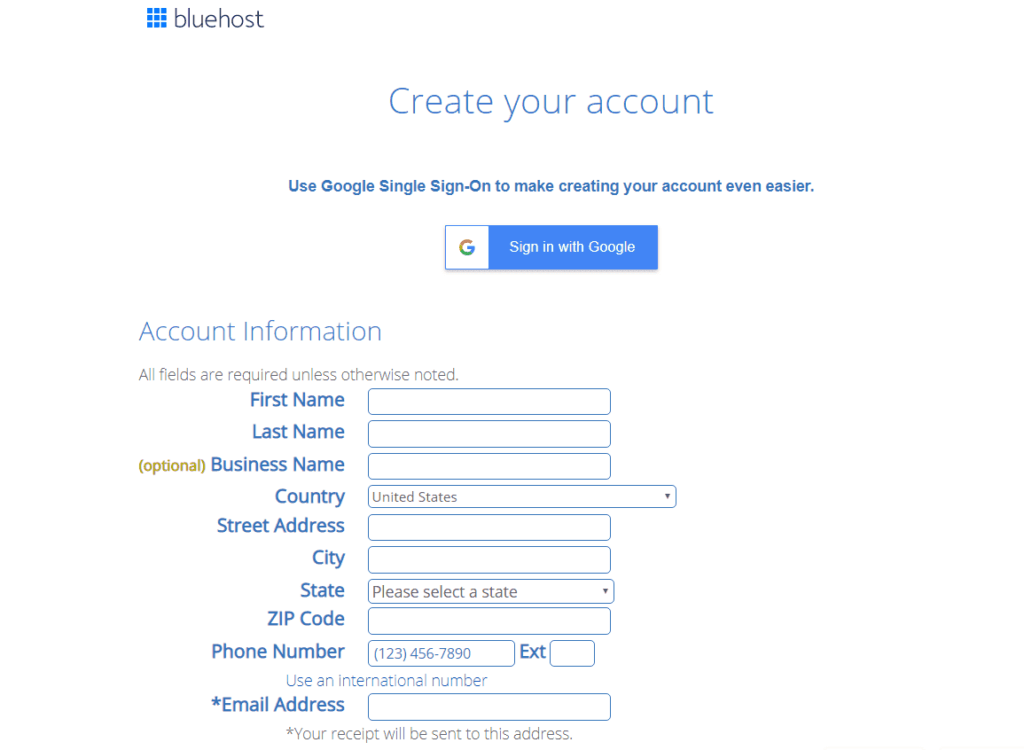 create account with  bluehost by filling out information