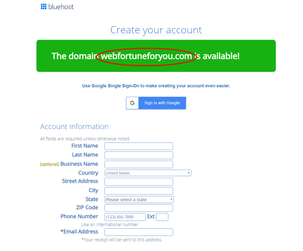 Account creation with bluehost