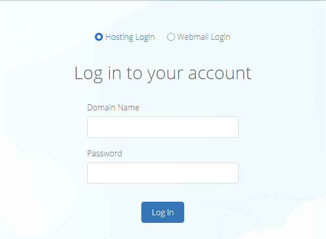Bluehost log in page