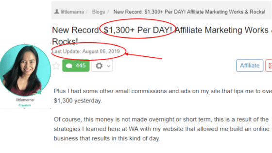 Is Wealthy Affiliate legit: Income report by a member