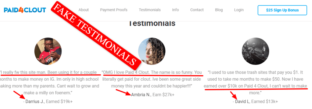 testimonials from Paid4clout site. These are the same on Kash Tree site. Fake