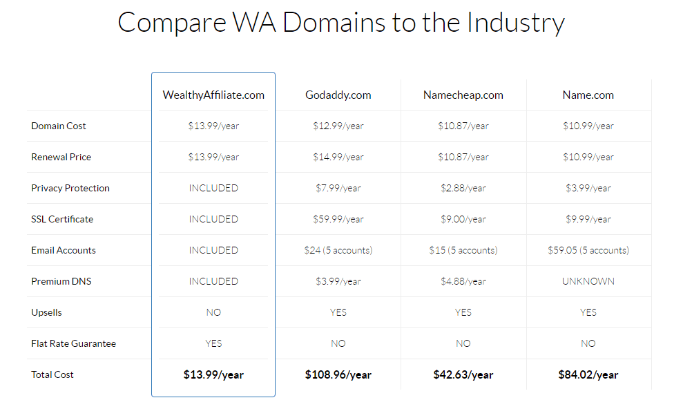Wealthy affiliate unbiased review:domain name comparaison