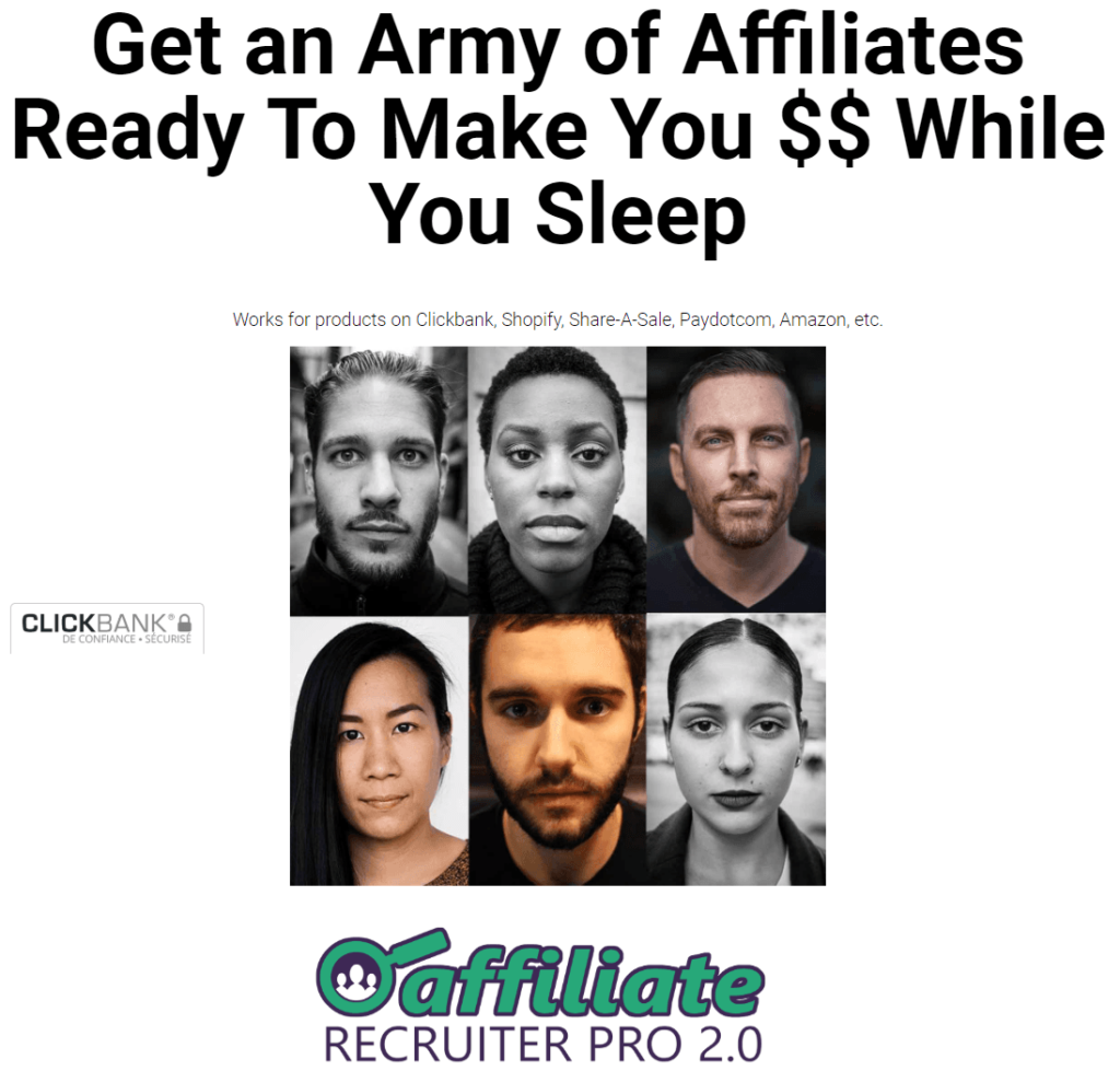 Affiliate recruiter pro 2.0 review : their main page with claim