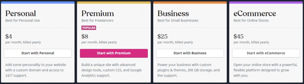 Where can I start a blog: WordPress. com pricing plans