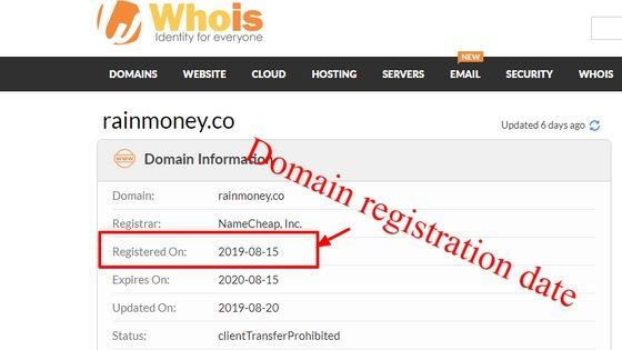 Rain Money is a scam. they lie about their creation date. WHOIS show their real registration date