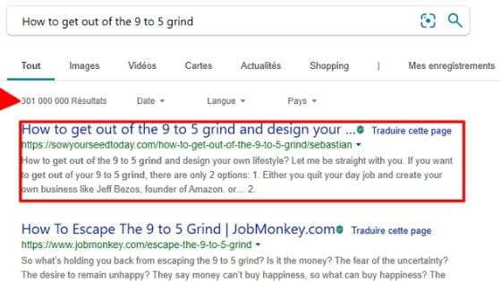 Page position on the SERP