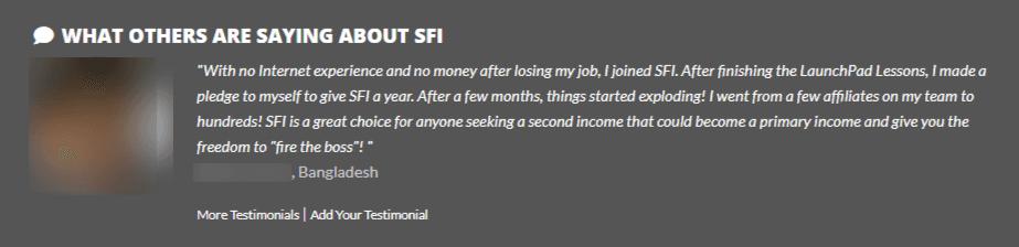 SFI testimonials
