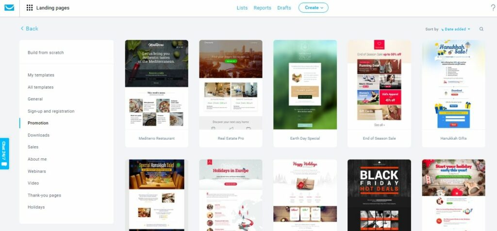Getresponse review: Their landing page templates