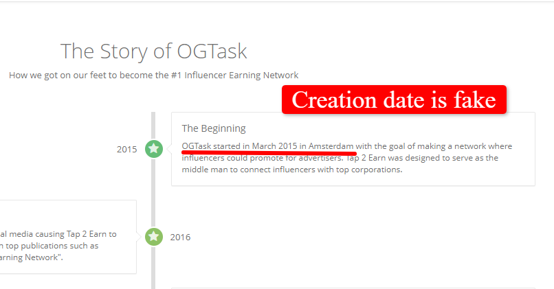 OGtask review: They lie about their company founded date