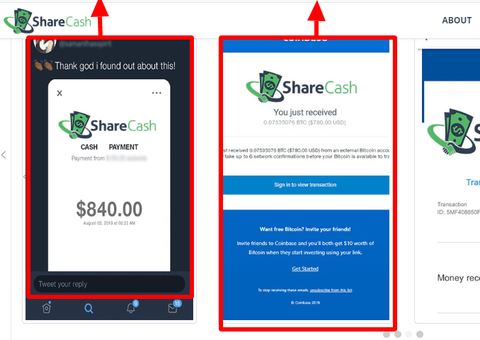 Fake payment proof from ShareCash.co website used by OGtask