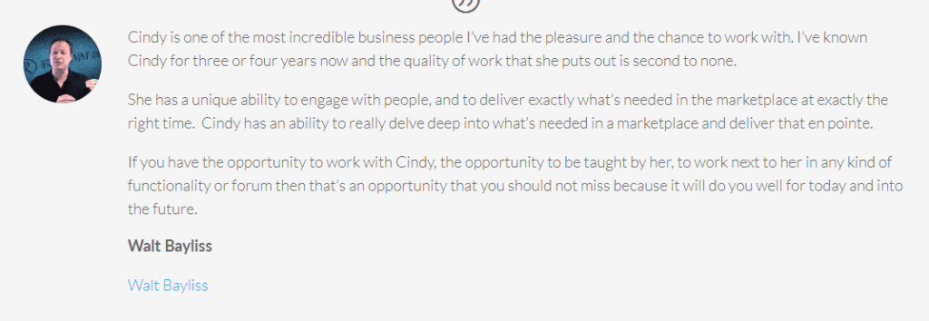 What people say about Cindy Donovan