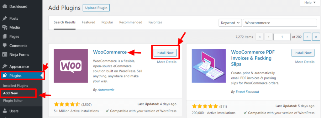How to build a successful ecommerce website with WordPress: Install Woocommerce plugin