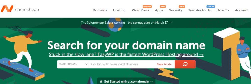 The best place de buy a domain name: NameCheap registrar company website home page