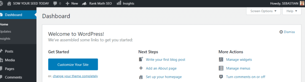 Wordpress account : user dashboard