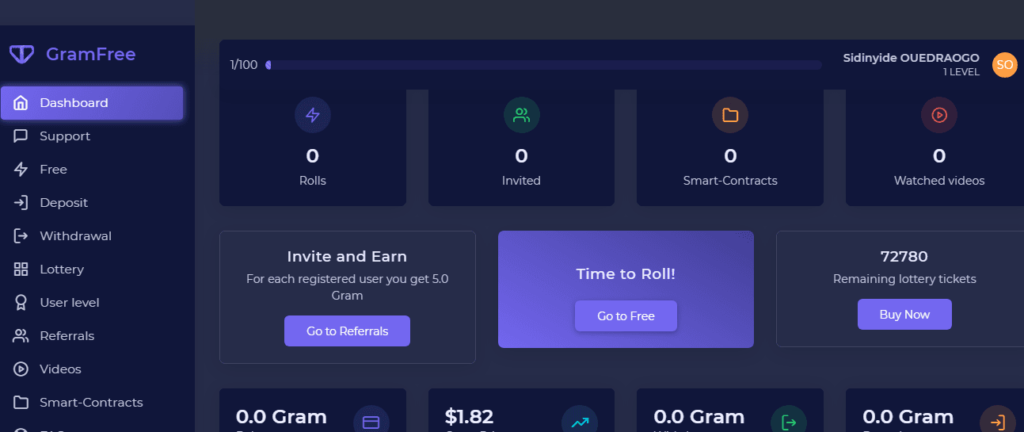 GramFree review: My dashboard