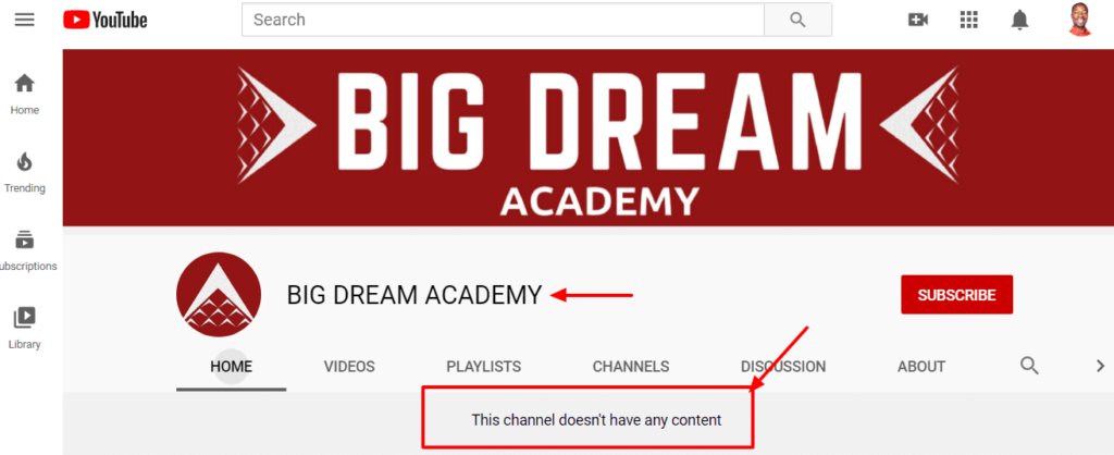 Big Dream Academy review: His YouTube channel doesn't show any content