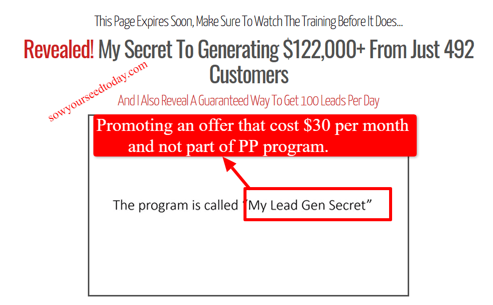 Profit Passport scam: The owner promoti ng My Leads Gen Secret