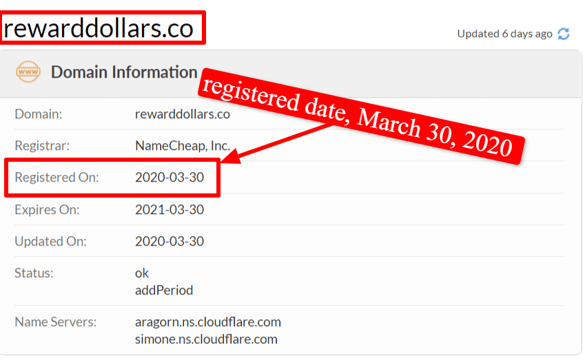 Reward Dollars review: rewarddollars.co lie about their creation date. Domain registration date is March 30, 2020