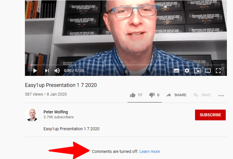 Peter Wolfing turned his Easy1Up presentation's YouTube video off.