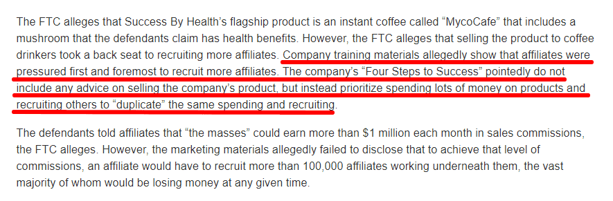 The FTC shuted down the Success by Health Pyramid scheme