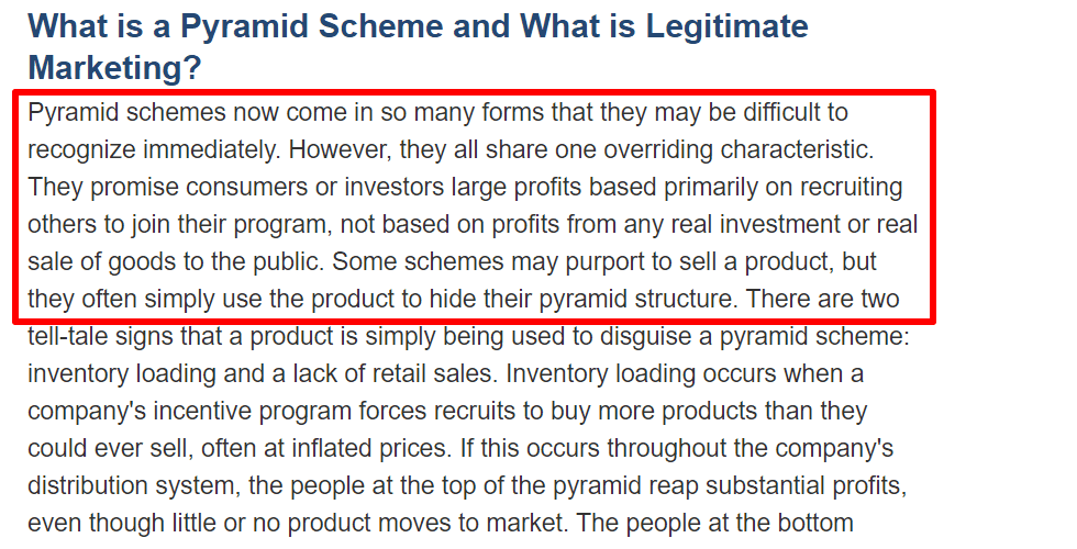 FTC defines what a pyramid scheme is
