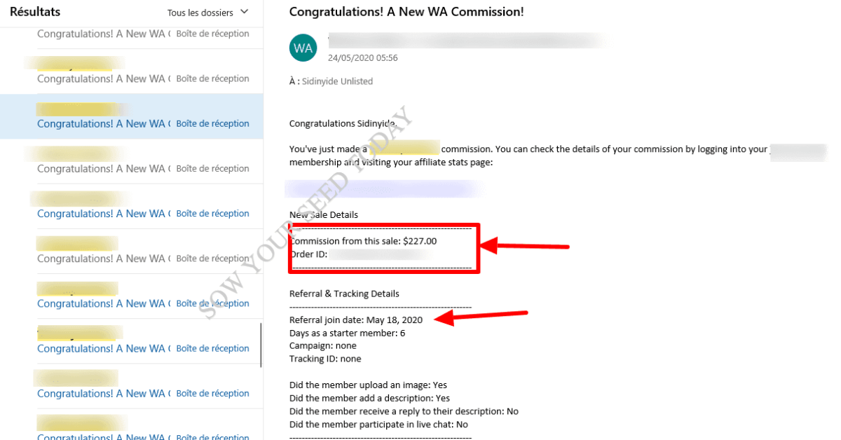 Sales emails that shows affiliate marketing offer ways to make money online