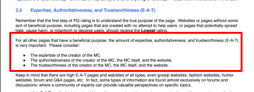 Google stateing how they rate sites