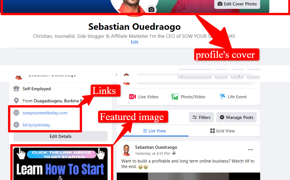 Facebook profile well optimized for leads generation: an overview