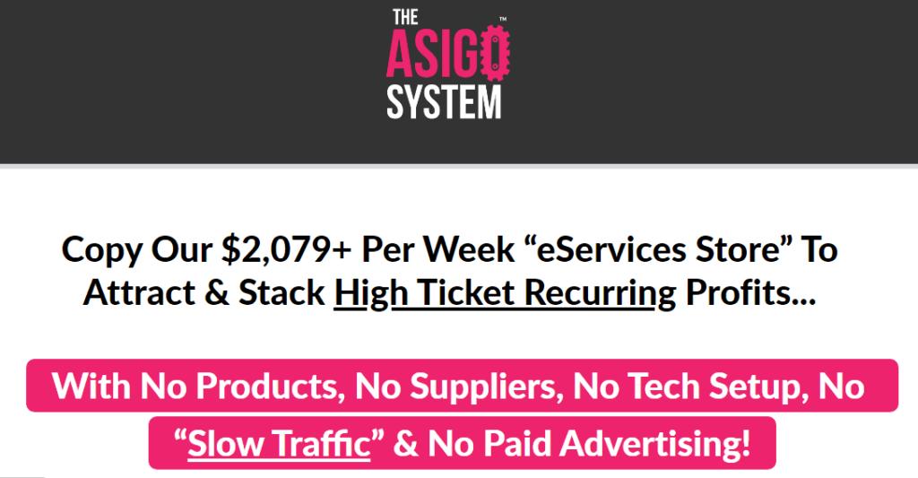 The Asigo eService sale page's claim