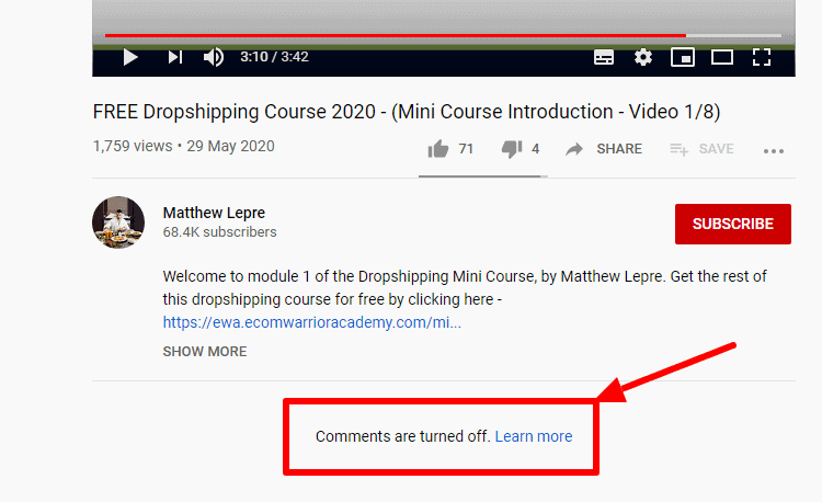 Matthew Lepre's YouTube channel: video turned into off