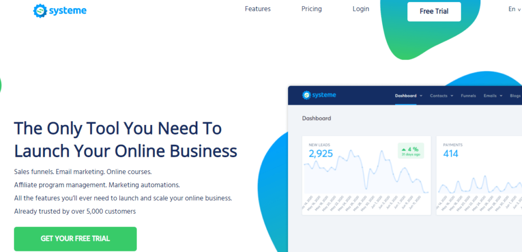 systeme.io review: home page