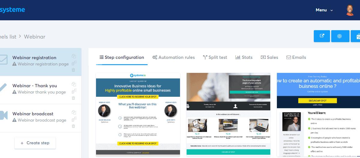 Systeme.io webinar funnels templates
