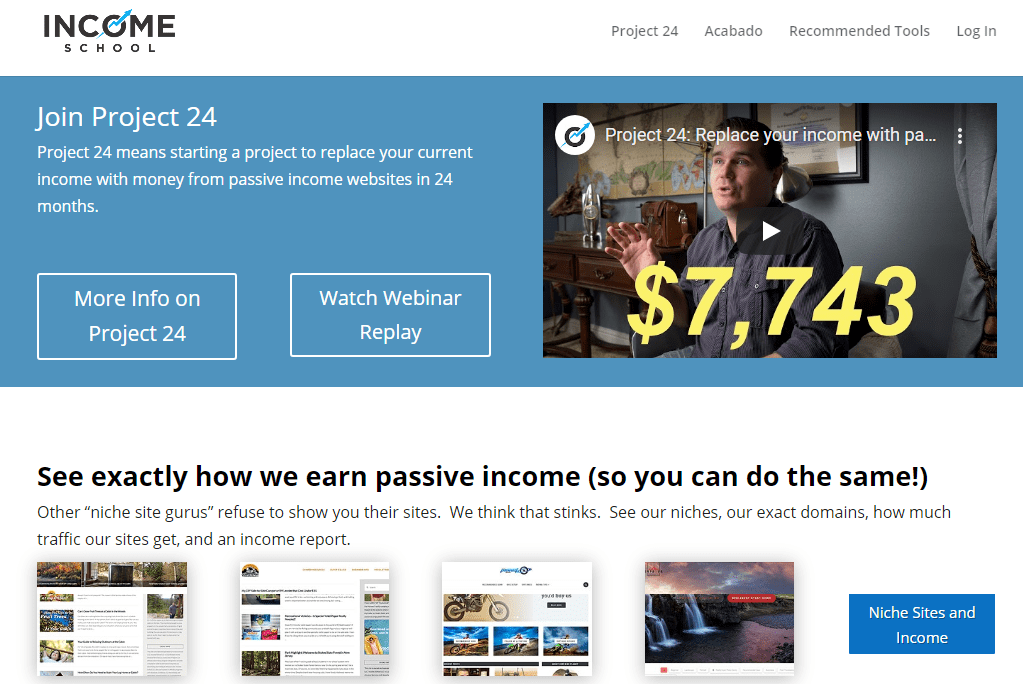 Income school Project 24 review: site home page
