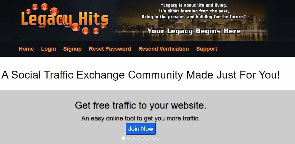 Legacy Hits free traffic exchange tool