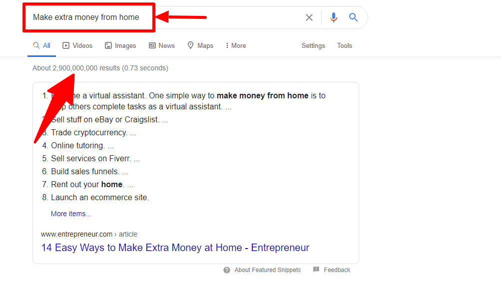 Market research results from Google