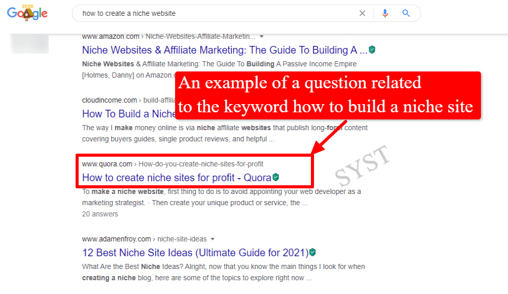 question n Quora related to the keyword how to build a niche site