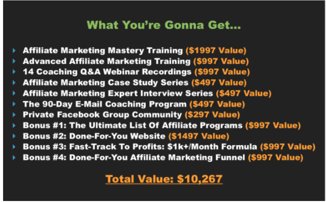 The Affiliate Marketing Mastery features - what you get