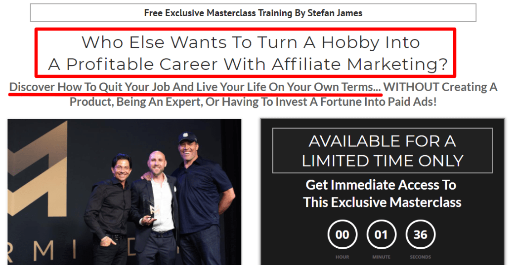 Affiliate Marketing Mastery Stefan James - sale page