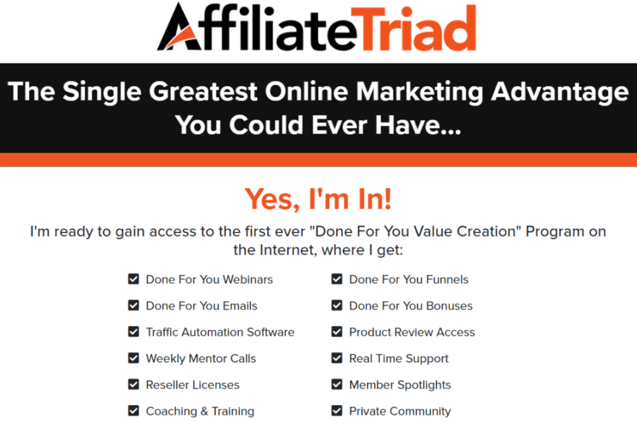 Affiliate Triad review - product features