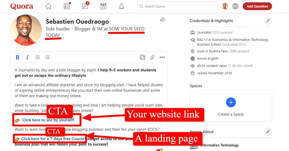 Quora marketing tips - Quora profile set up guide