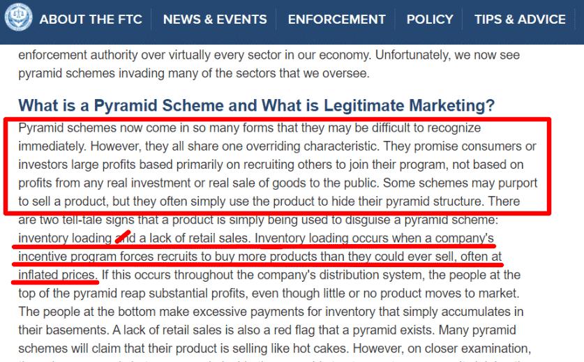 How the FTC defines PYRAMID SCHEME