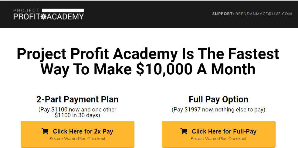 Project Profit Academy review - sale page