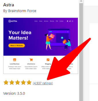 Astra theme rating - five stars from over 4937 users