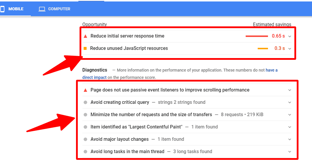 Google speed test page insight improvement suggestion
