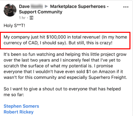 Marketplace Superheroes success stories - member sharing his results
