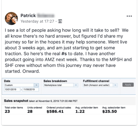 MPSH success stories - member making $586+ in a week selling on Amazon