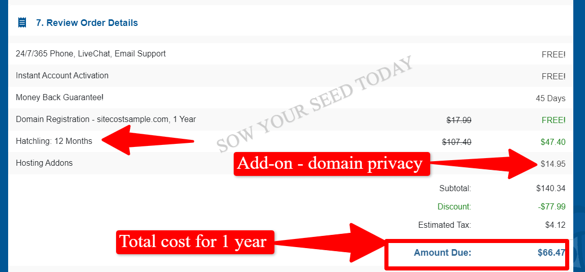 how much does it cost to start a self-hosted blog with HostGator - hosting cost for 1 year