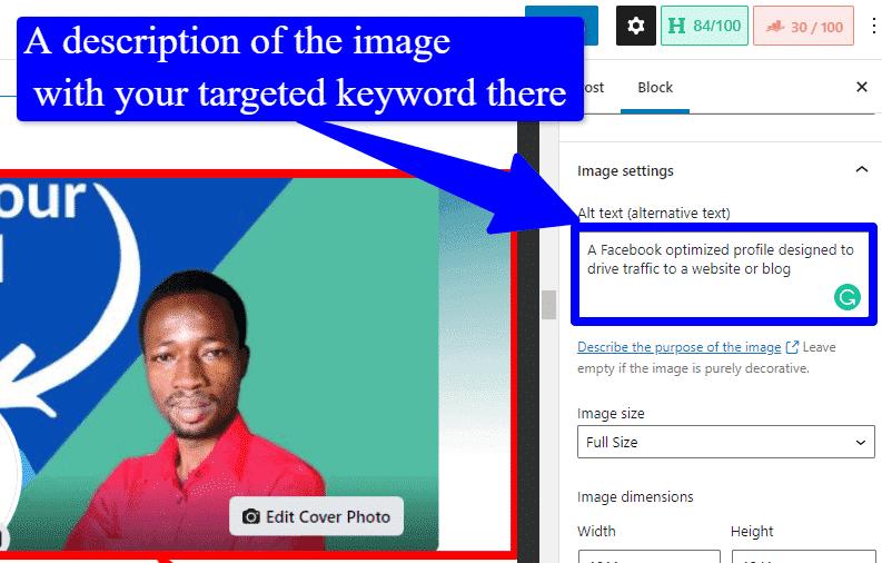 A screenshot describing how to optimise image for SEO