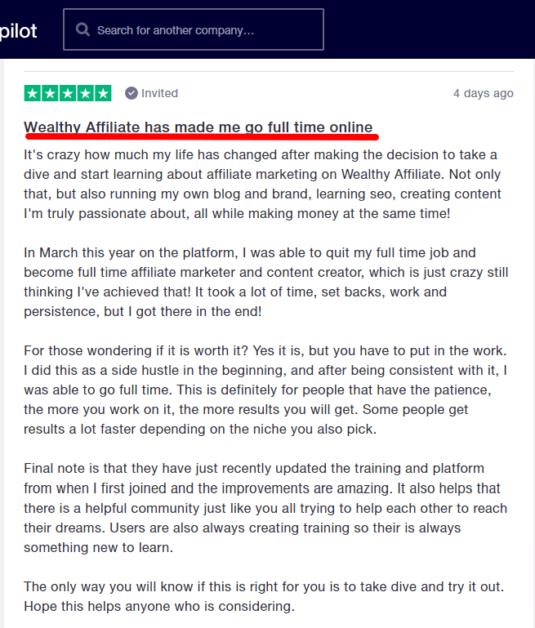 Wealthy Affiliate reviews on Trustpilot